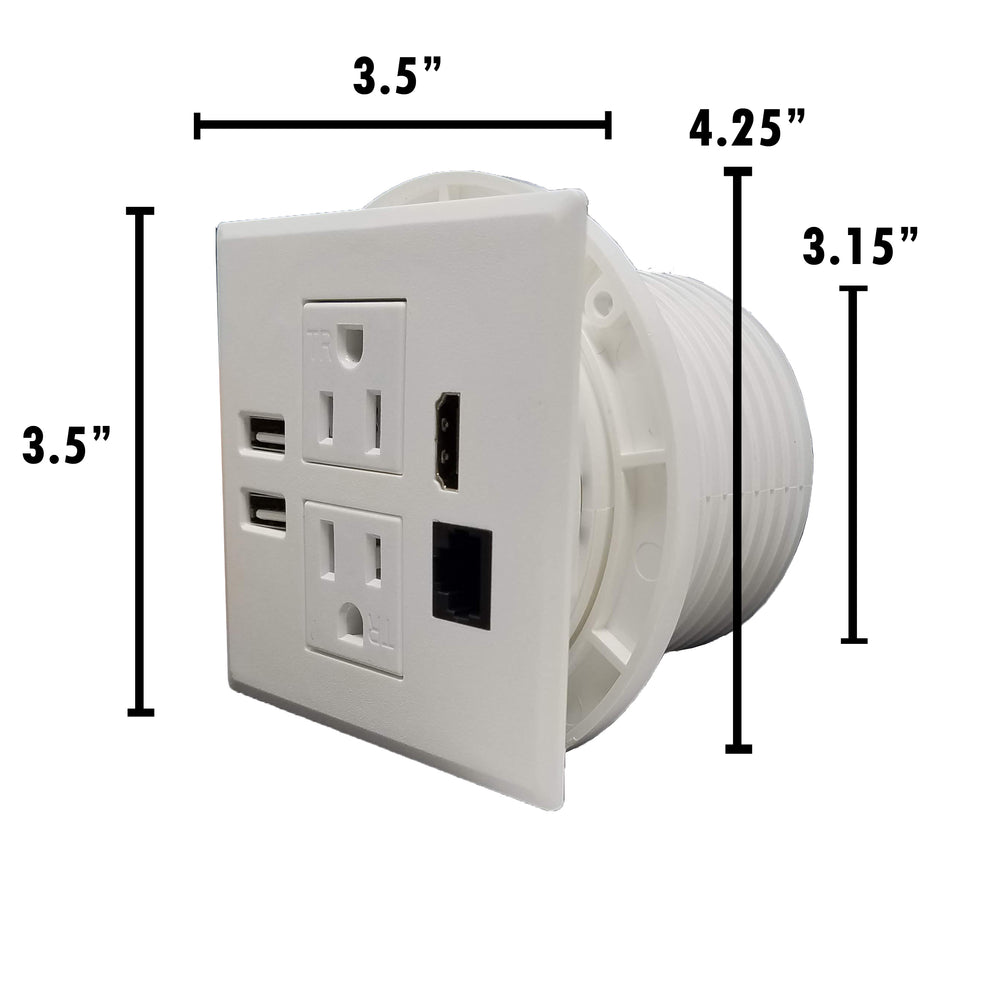 "Power Grommet W/ 2 USB Charging Ports, Desktop Outlet W/ 2 AC Outlets, 1 HDMI, 1 Data CAT 6, Power Socket W 6 ft Heavy Duty Extension Cord (Fit 3.15"" - 3.25"" Hole - DC-8589)"