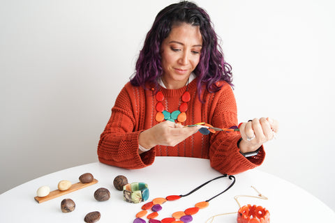 I have always had a great passion for the arts and wanted to use my talents to bring some of my culture to my adopted homeland. As organic jewelry was not widely found in Vancouver, tagua jewelry seemed like a great way to bring some of Ecuador to Canada. I work with local Artisans in Ecuador to create the beads which involves the cutting, polishing and dying of the tagua nuts. The tagua used to create all Tagua Love jewelry is ethically sourced from Ecuador and all designs are hand-made in Canada. Working with the local Artisans in Ecuador has been an amazing experience and the tagua industry provides much needed economic stability to the region