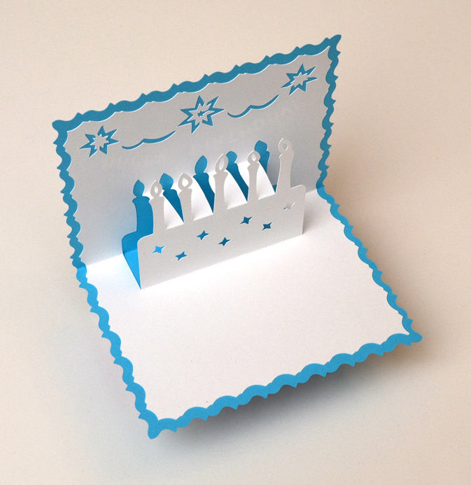PopUp Birthday Card 3D Birthday Cake Light Blue ArtsyTreeProducts