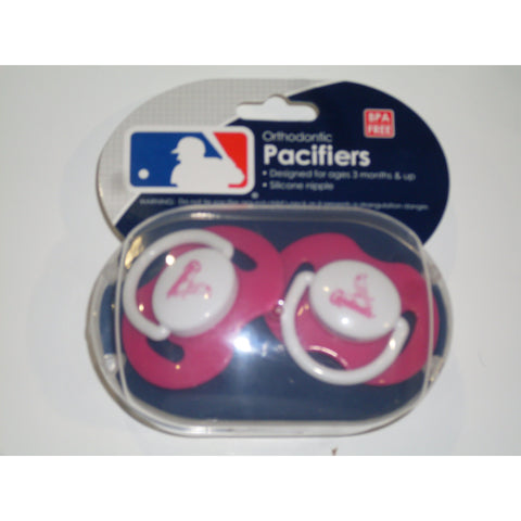 MLB St. Louis Cardinals Pink Pacifiers Set of 2 w/ Solid Shield in Case