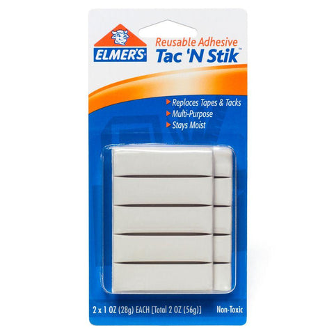 Elmer's Tac 'N Stik Reusable Adhesive Non-Toxic Total Weight 2 oz