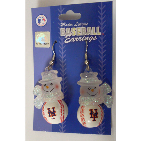 MLB Womens Snowman Earrings New York Mets