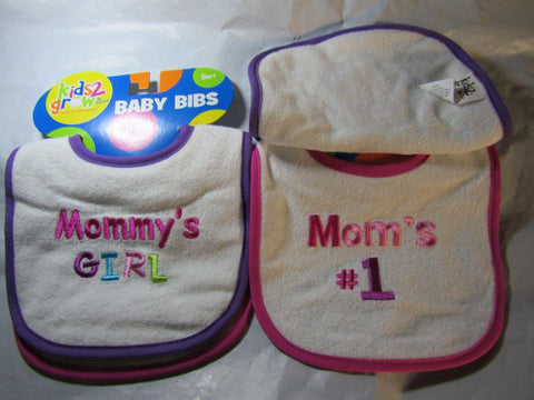 Baby Bibs Mommy's Girl and Mom's #1 by Kids 2 Grow
