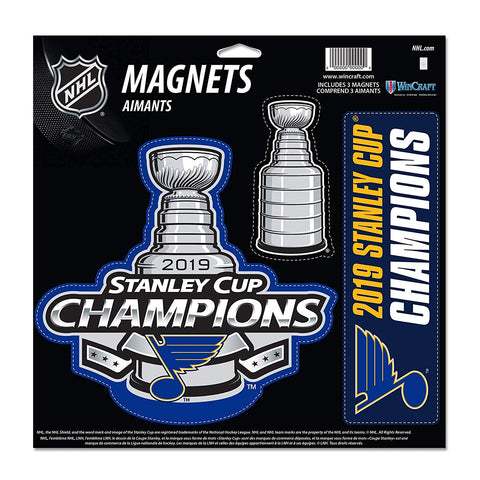 NHL St. Louis Blues 2019 Stanley Cup Champions 3-Pack Car Magnet Set WinCraft