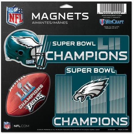 Philadelphia Eagles Super Bowl LII Champion 3-Pack Car Magnet Set WinCraft