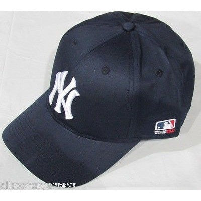 MLB New York Yankees Adult Cap Curved Brim Raised Replica Cotton Twill Hat Navy Blue