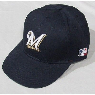 MLB Milwaukee Brewers Adult Cap Flat Brim Raised Replica Cotton Twill Hat