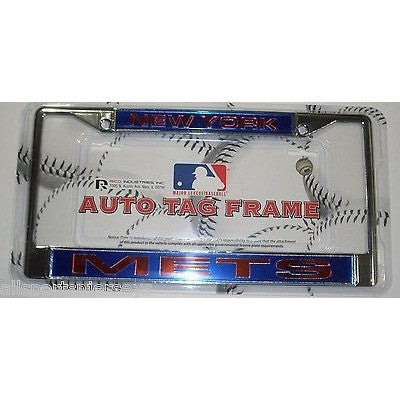MLB New York Mets Chrome License Plate Frame Laser Cut