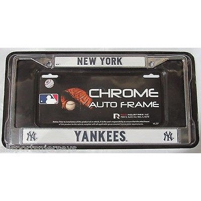 MLB New York Yankees Chrome License Plate Frame Thin Letters