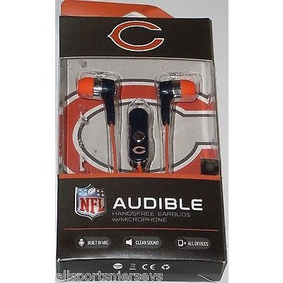 NFL Chicago Bears Team Logo Earphones with Microphone by MIZCO