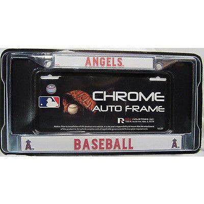 MLB Anaheim Angels Chrome License Plate Frame Thin Red Letters
