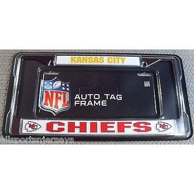NFL Kansas City Chiefs Chrome License Plate Frame 2 Color Letters