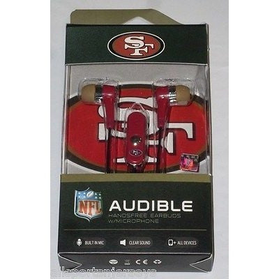 NFL San Francisco 49ers Team Logo Earphones with Microphone by MIZCO