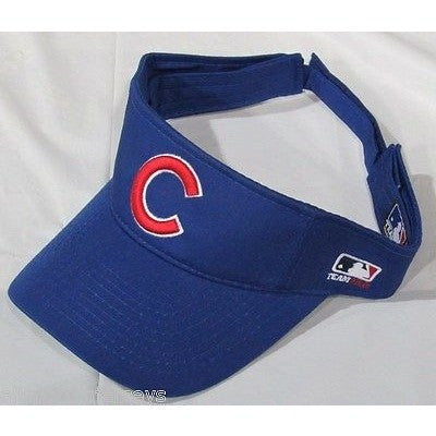 MLB CHICAGO CUBS ADULT VISOR COTTON TWILL RAISED REPLICA ADJUSTABLE STRAP ROYAL BLUE