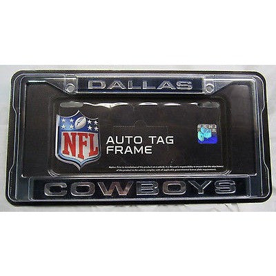NFL Dallas Cowboys Laser Cut Chrome License Plate Frame