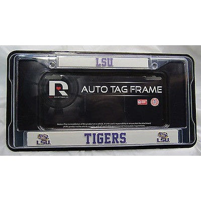 NCAA LSU Louisiana State Tigers Chrome License Plate Frame Thin Purple Letters