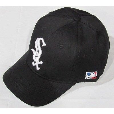 MLB Chicago White Sox Adult Cap Curved Brim Raised Replica Cotton Twill Hat Black