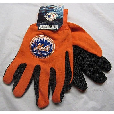 MLB NWT NO SLIP 2-TONE UTILITY WORK GLOVES ROUND LOGO - NEW YORK METS