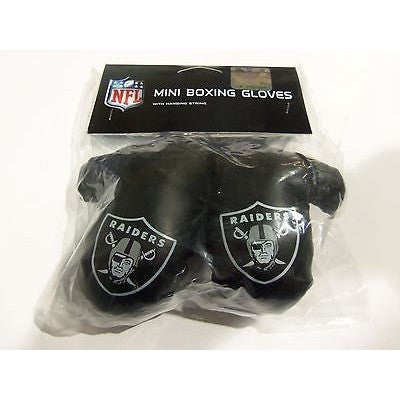NFL Oakland Raiders 4 Inch Rear View Mirror Mini Boxing Gloves