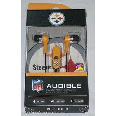 NFL Pittsburgh Steelers Team Logo Earphones with Microphone by MIZCO