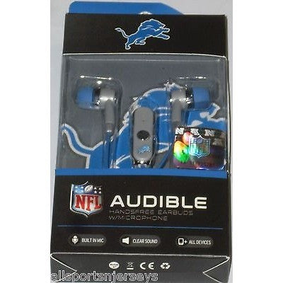 NFL Detroit Lions Team Logo Earphones with Microphone by MIZCO