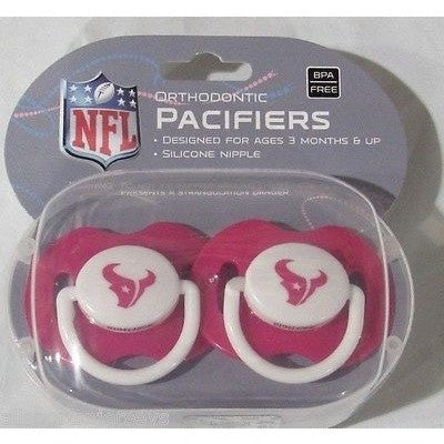 NFL Houston Texans Pink Pacifiers Set of 2 w/ Solid Shield in Case