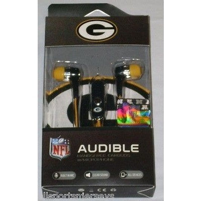 NFL Green Bay Packers Team Logo Earphones with Microphone by MIZCO