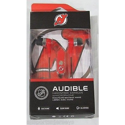 NHL New Jersey Devils Team Logo Earphones with Microphone by MIZCO