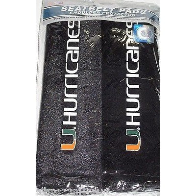 NCAA Miami Hurricanes Velour Seat Belt Pads 2 Pack by Fremont Die