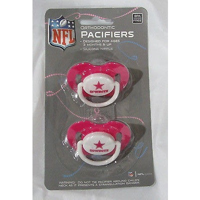 NFL Dallas Cowbays Pink Pacifiers Set of 2 w/ Solid Shield on Card