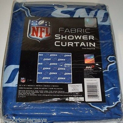 NFL 72 X 72 Inch Fabric Shower Curtain Detroit Lions