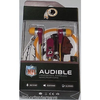 NFL Washington Redskins Team Logo Earphones with Microphone by MIZCO