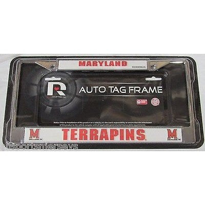 NCAA Maryland Terrapins Chrome License Plate Frame Thick Letters