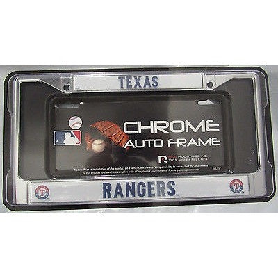 MLB Texas Rangers Chrome License Plate Frame Thin Letters