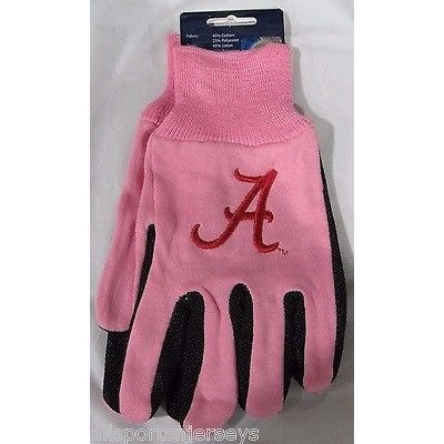 NCAA NWT 2-TONE PINK NO SLIP UTILITY WORK GLOVES A LOGO - ALABAMA CRIMSON TIDE