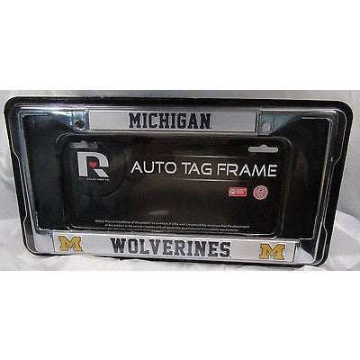 NCAA Michigan Wolverines Chrome License Plate Frame Thin Blue Letters