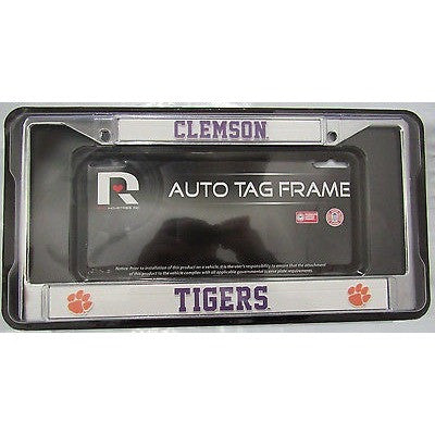 NCAA Clemson Tigers Chrome License Plate Frame Thin Purple Letters