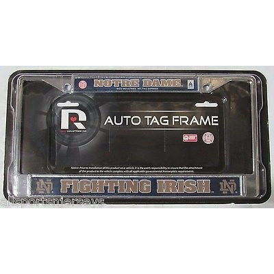 NCAA Notre Dame Fighting Irish Chrome License Plate Frame Blue Image Insert