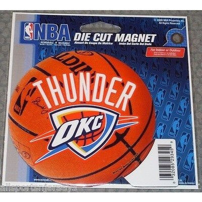 NBA Oklahoma City Thunder Logo on Basketball 4 inch Auto Magnet by WinCraft