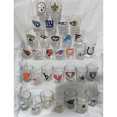 NFL Complete set 1 each of all 32 Teams Standard 2 oz Shot Glass