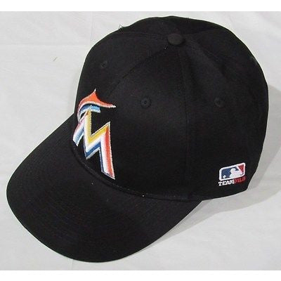 MLB Miami Marlins Adult Cap Flat Brim Raised Replica Cotton Twill Hat Black