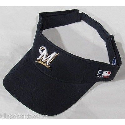 MLB MILWAUKEE BREWERS VISOR COTTON TWILL REPLICA ADJUSTABLE STRAP ADULT ALL NAVY BLUE