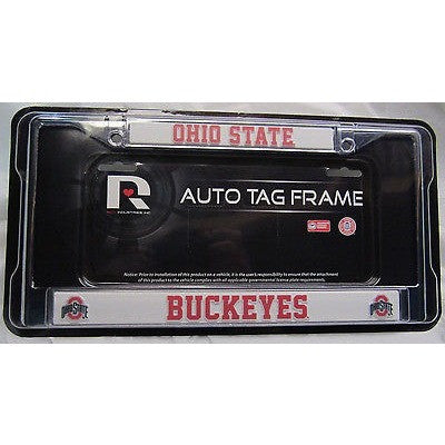 NCAA Ohio State Buckeys Chrome License Plate Frame Thin Red Letters