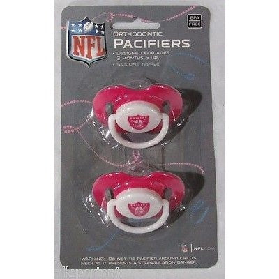 NFL Oakland Raiders Pink Pacifiers Set of 2 w/ Solid Shield on Card