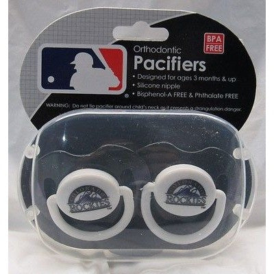 MLB Colorado Rockies Pacifiers Set of 2 w/ Stripe on Shield in Case