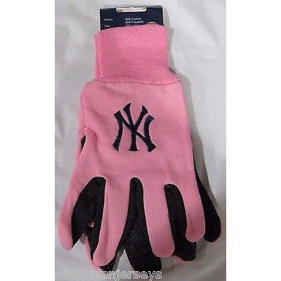 MLB NWT 2-TONE PINK NO SLIP UTILITY WORK GLOVES - NEW YORK YANKEES