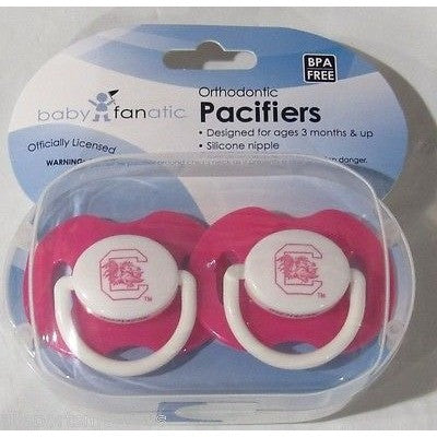 NCAA South Carolina Gamecocks Pink Pacifiers Set of 2 w/ Solid Shield in Case