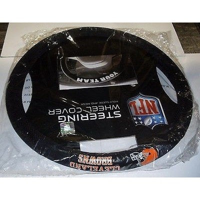 NFL Cleveland Browns White Letters Poly-Suede Mesh Steering Wheel Cover by Fremont Die