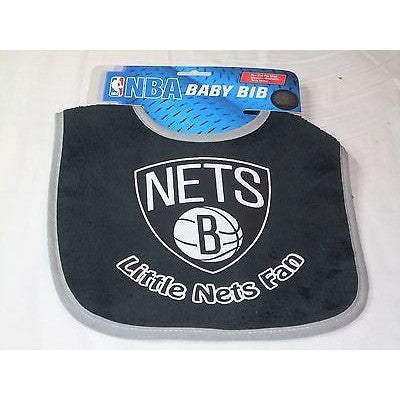 NBA Little Brooklyn Nets Fan Infant Baby Bib Black Gray Trim Wincraft