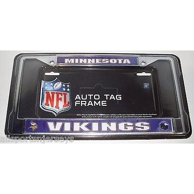 NFL Minnesota Vikings Chrome License Plate Frame Purple Insert